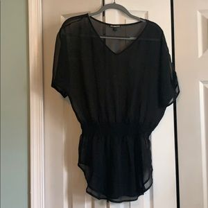 Express sheer black flowy top with ruching